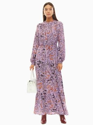 Сукня бузкового кольору в принт | 5152633
