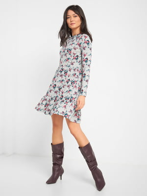 Платье серое в цветочный принт | 5282861