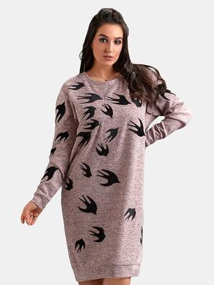 Платье розово-серое в принт | 5284495