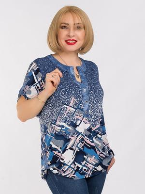 Блуза синяя в принт | 5284500