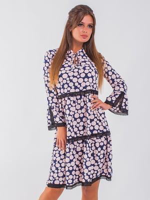 Платье сине-розовое в горох | 5284605