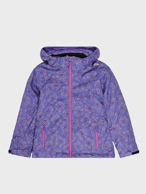 Куртка фиолетовая с принтом лыжная | 5259997