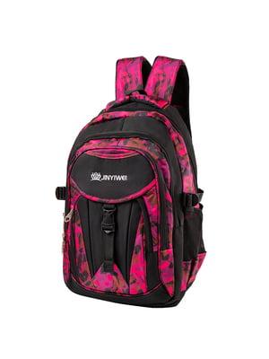 Рюкзак чорно-рожевий з принтом | 5285185