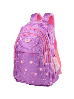 Рюкзак бузковий з принтом | 5285307