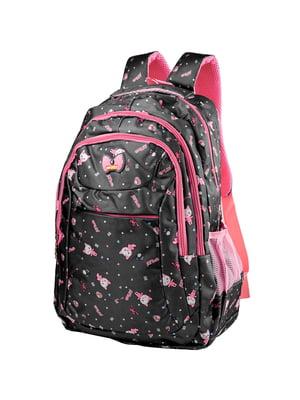 Рюкзак чорний з принтом | 5285309