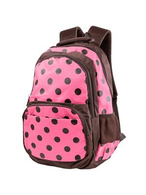 Рюкзак коричнево-розовый в горох | 5285380