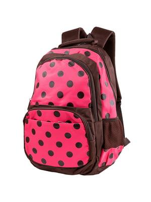 Рюкзак коричнево-розовый в горох | 5285382