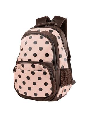 Рюкзак коричнево-розовый в горох | 5285383