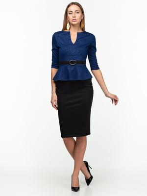 Платье сине-черное с принтом | 5289733