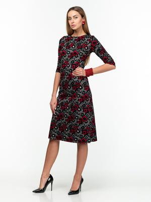 Платье серо-красное с принтом | 5289748