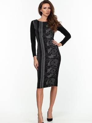 Платье черно-серое с цветочным принтом | 5289755