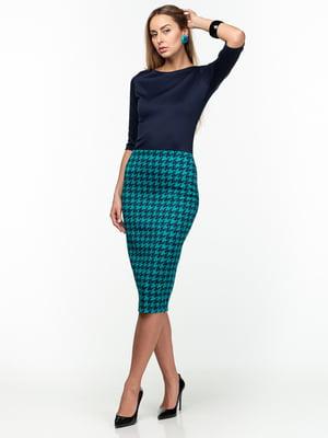 Сукня синьо-зелена в гусячу лапку   5289764