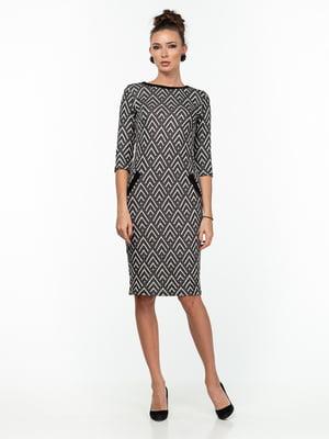 Платье черно-молочного цвета с принтом | 5289787