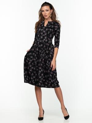 Платье черное с цветочным принтом - AERIN - 5289823