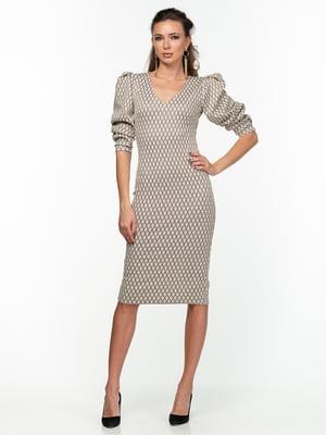 Платье бежевое в ромбы - AERIN - 5289829