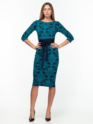Платье сине-бирюзовое с принтом | 5289746