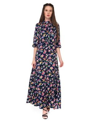 Платье темно-синее в цветочный принт | 5291309