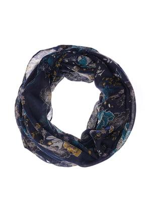 Шарф-снуд темно-синий с принтом | 5291875