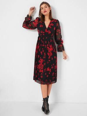 Платье черное в цветочный принт | 5295225