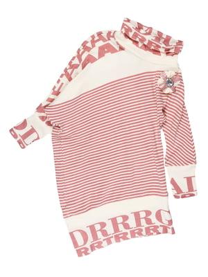 Туника молочно-розовая в полоску с надписями | 5292570