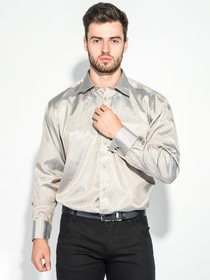 Сорочка бежевого кольору в смужку | 5287814