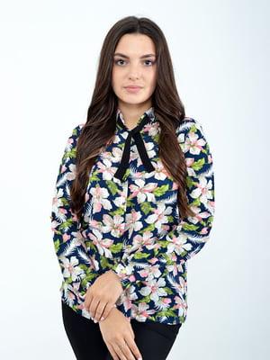 Блуза синяя с принтом | 5298891
