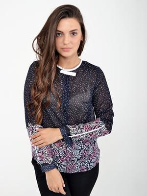 Блуза синя в цяточку і принт | 5298892