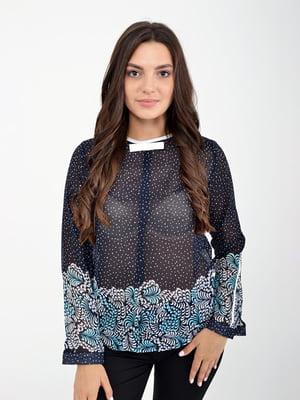Блуза синяя в крапинку и в принт | 5298893