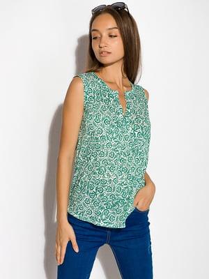Блуза бело-зеленая   5298919
