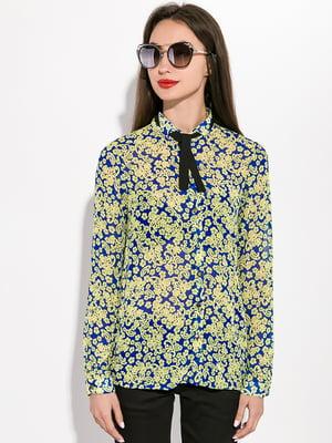 Рубашка синяя в принт | 5298944