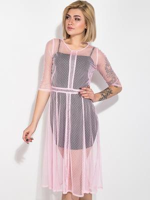 Платье розового цвета с декором | 5299194
