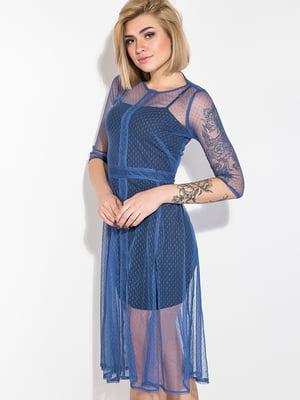 Платье синее с декором | 5299195