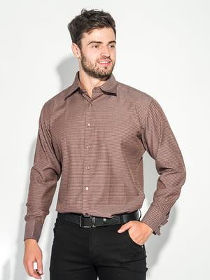 Сорочка шоколадного кольору з візерунком | 5299293