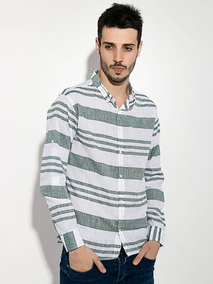 Рубашка бело-зеленая | 5299302