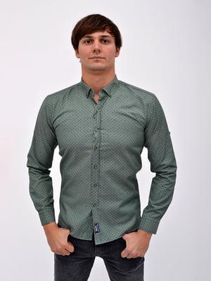 Сорочка зелена в принт   5299304