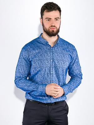 Сорочка блакитного кольору в принт | 5299343