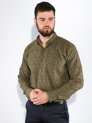 Сорочка кольору хакі в принт | 5299344