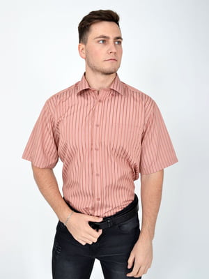 Рубашка кирпичного цвета в полоску | 5299355