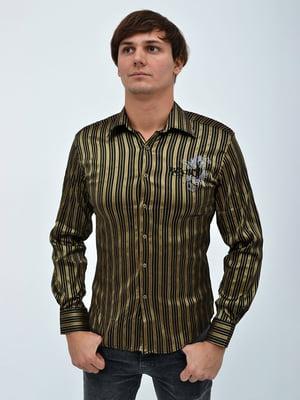 Сорочка чорно-золотистого кольору в смужку   5299378