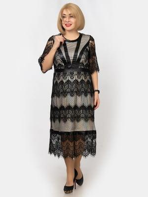 Сукня бежево-чорна | 5303771