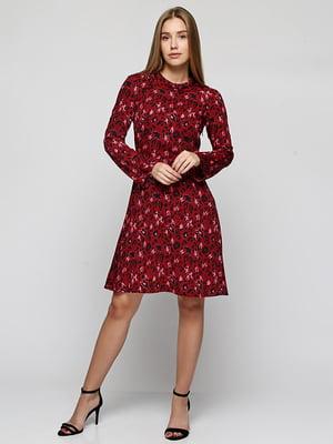 Платье бордовое с анималистическим принтом | 5304420