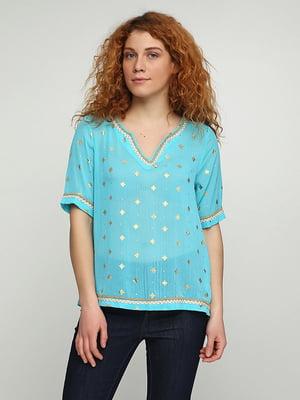 Блуза бирюзовая с принтом | 5308515