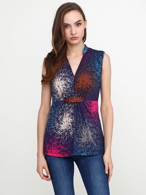 Блуза темно-синя з принтом | 5308538