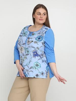 Блуза голубая с цветочным принтом | 5308540