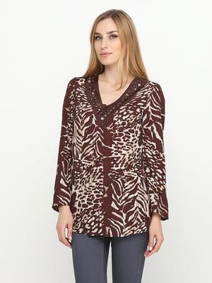 Блуза коричневая в анималистичный принт | 5308635