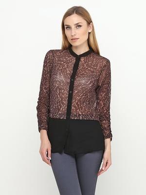 Блуза черно-коричневая в принт | 5308664