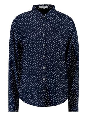 Рубашка темно-синяя с цветочным принтом | 5311025