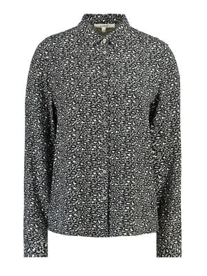 Рубашка черная с анималистическим принтом | 5311070