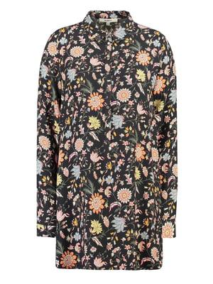 Блуза чорна з квітковим принтом | 5311071