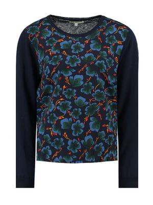 Джемпер темно-синий с цветочным принтом | 5311118